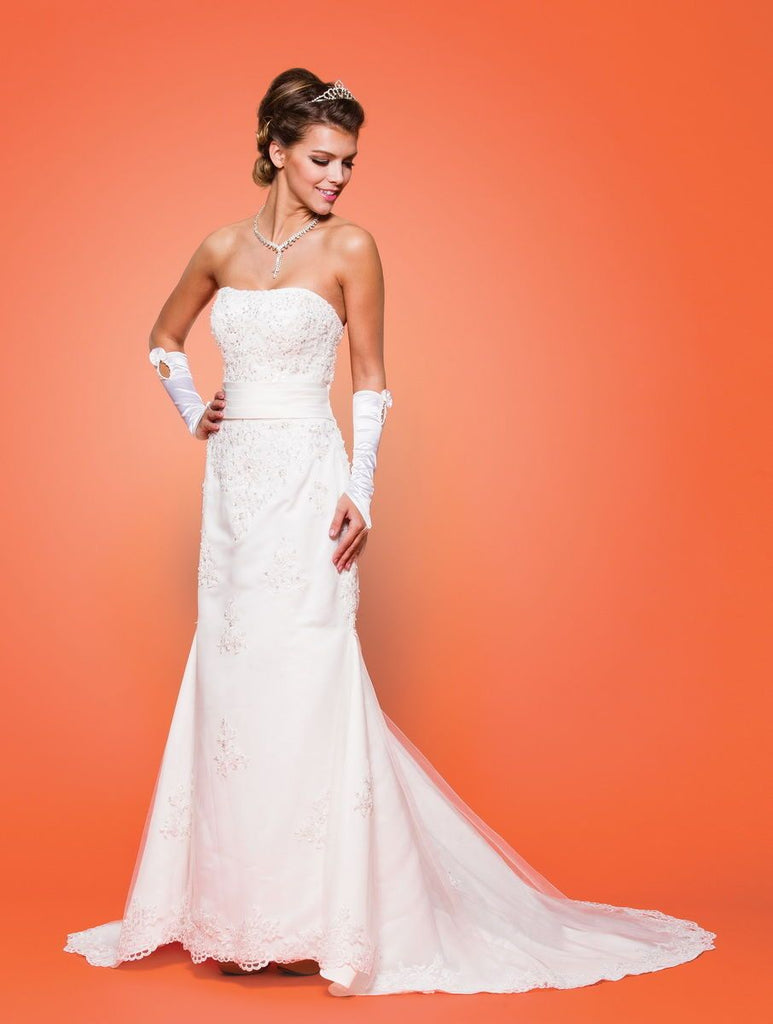 Jeweled Bateau Neckline Long Wedding Dress JT318