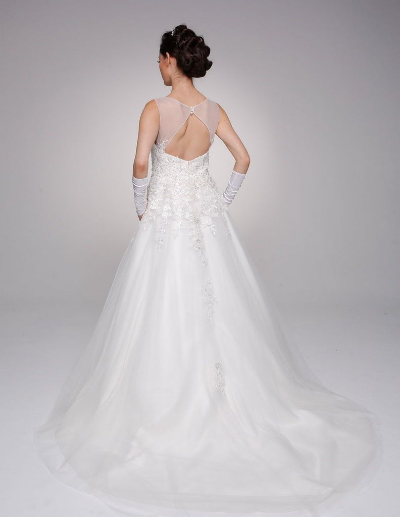 Illusion Neckline Long Wedding Dress with Gloves JT324