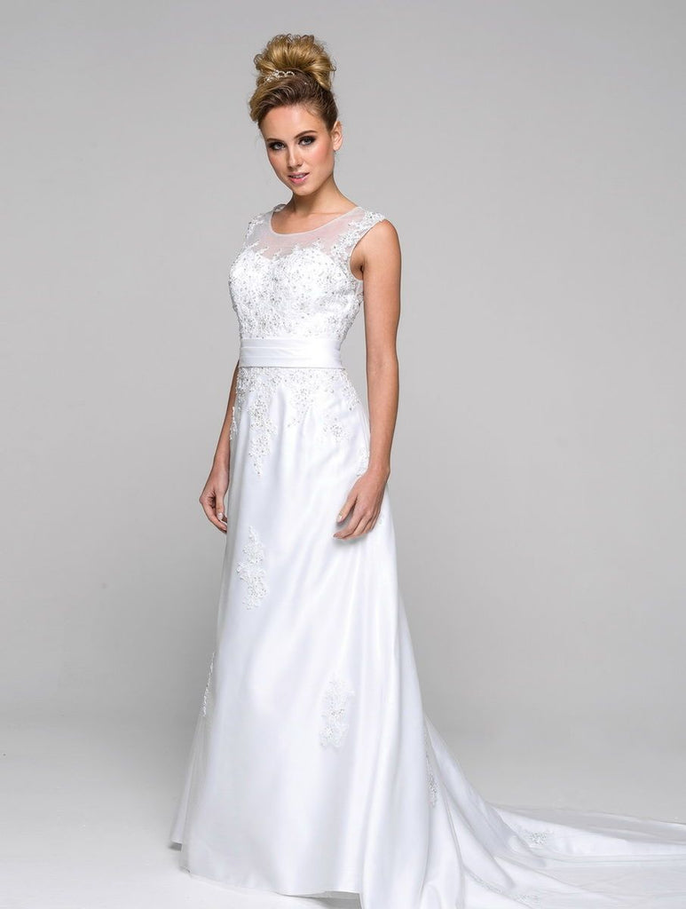 Illusion Neckline Long Sheath Wedding Dress JT326