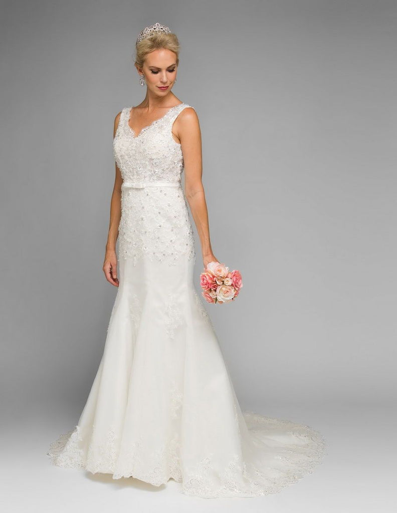 Jeweled V-Neckline Mermaid Long Wedding Dress JT340