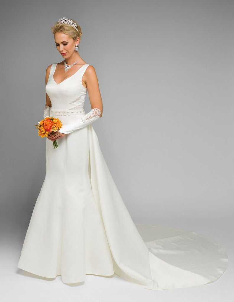 V-Neckline Sleeveless A-Line Long Wedding Dress with Gloves JT345