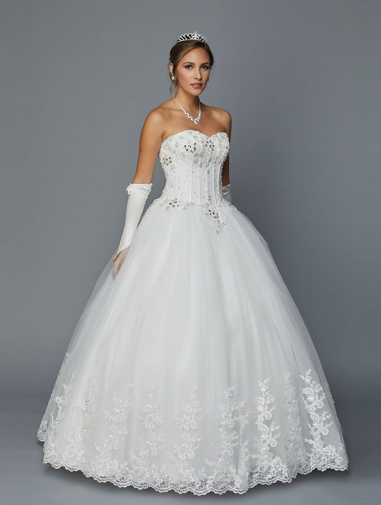 Sweetheart Neckline Beaded Long Wedding Dress with Gloves JT352