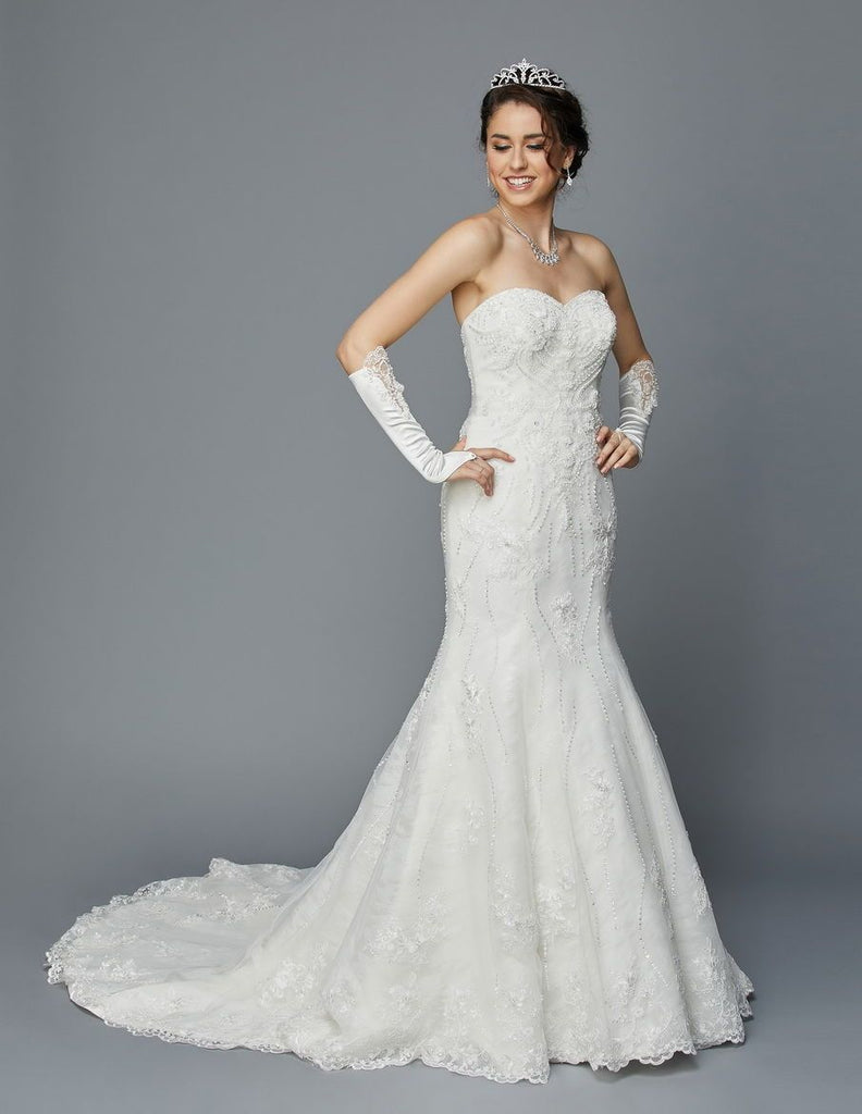 Sweetheart Neckline Strapless Long Wedding Dress with Gloves JT354