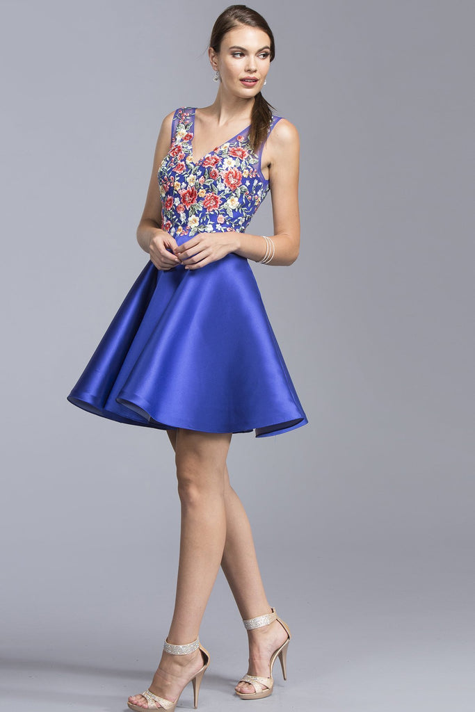 Homecoming Beautiful Short Dresses With Flowers APS1920-Short Dresses-smcfashion.com