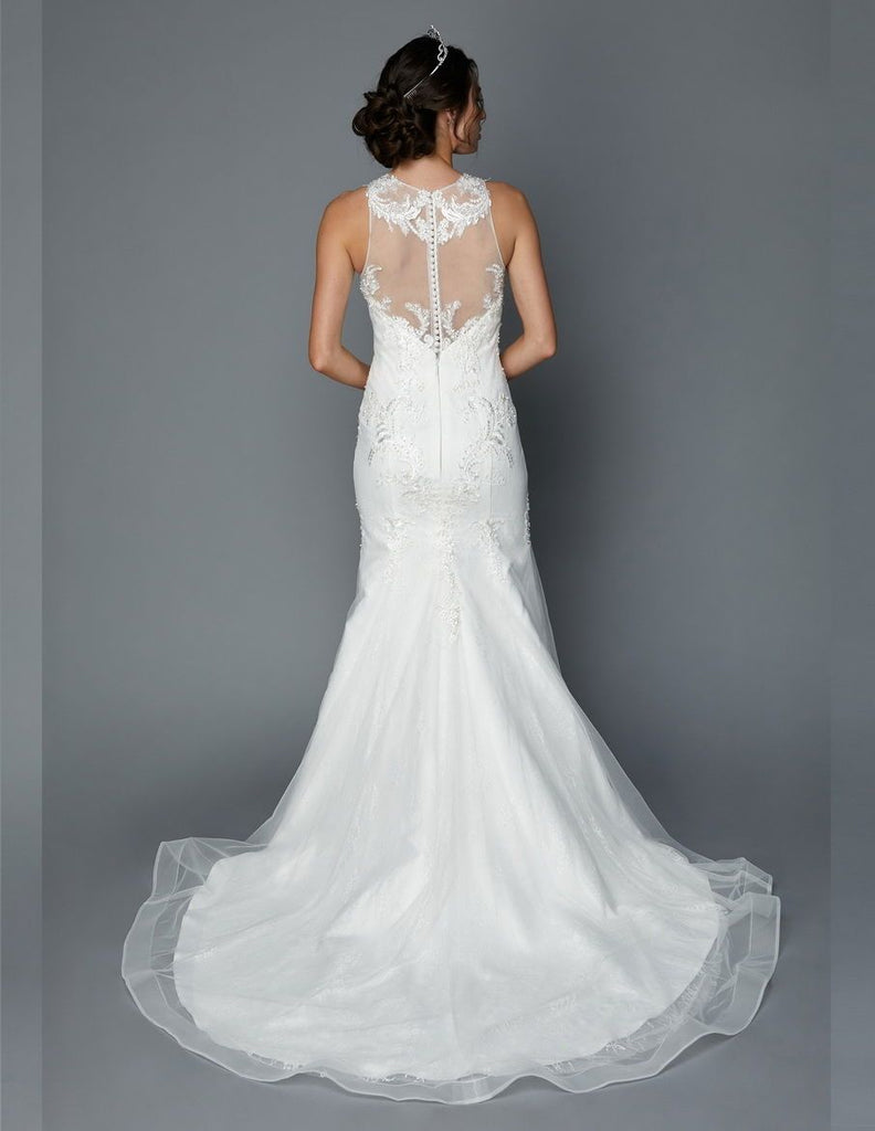 Illusion Neckline Sleeveless Mermaid Long Wedding Dress JT365
