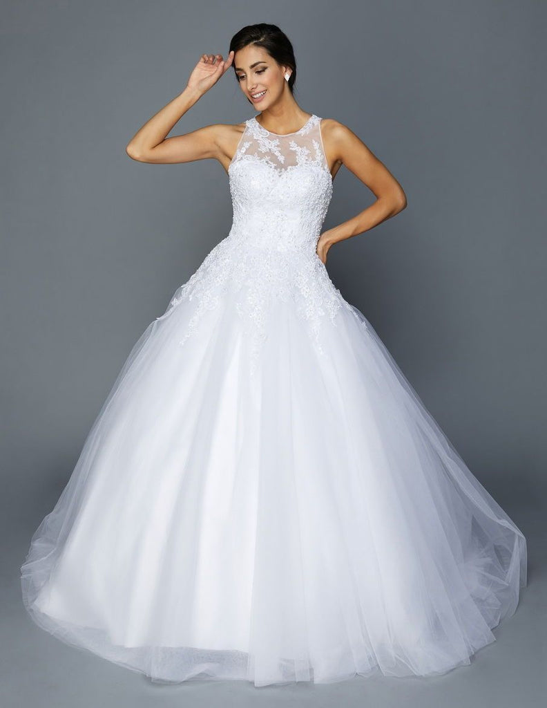 Illusion High Neckline Ballgown Long Wedding Gown JT368