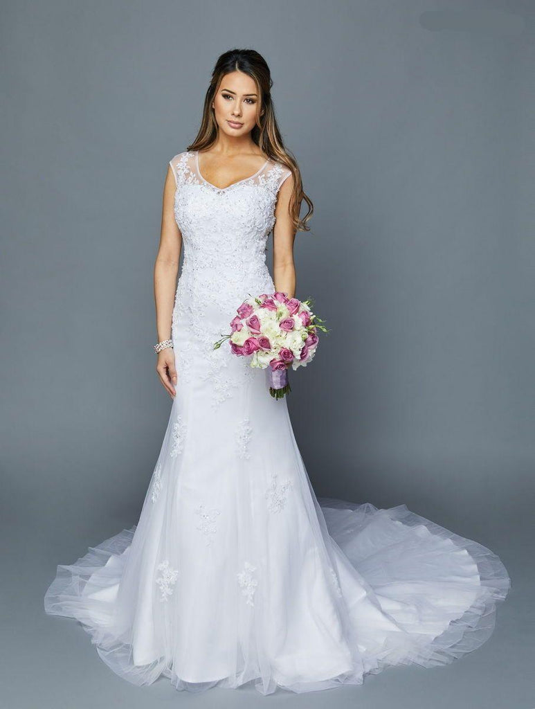 Elegance Scoop Neckline Sleeveless Long Wedding Dress JT375