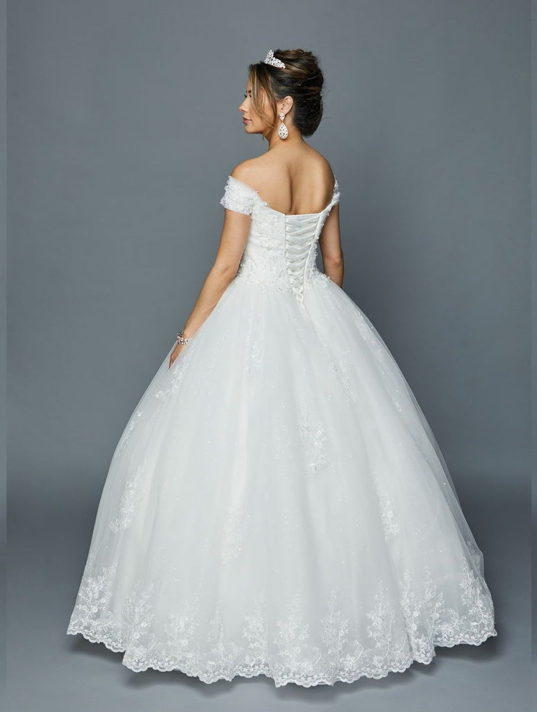 Off-Shoulder Jeweled Ballgown Long Wedding Dress JT378