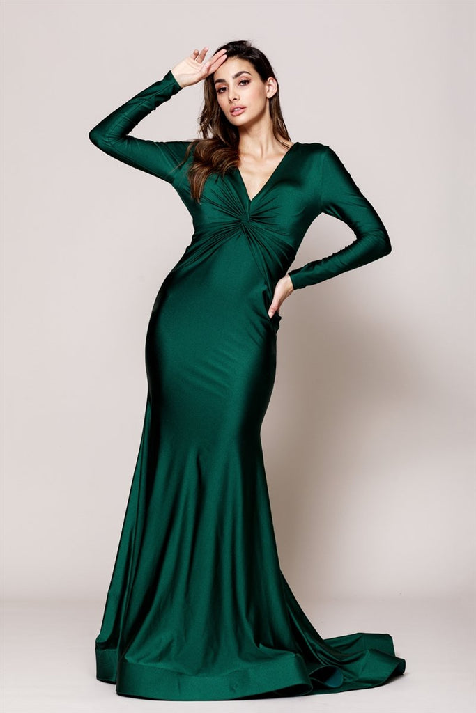 V-Neck Mermaid Long Sleeve Dress AC383