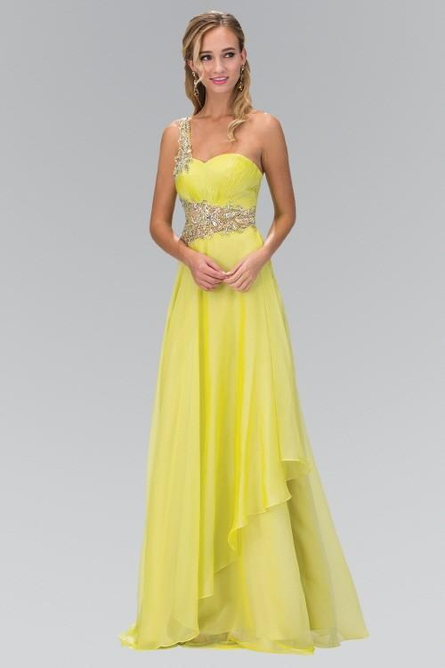 One Shoulder Jewel Embellished Chiffon Long Bridesmaid Dress GSGL1083