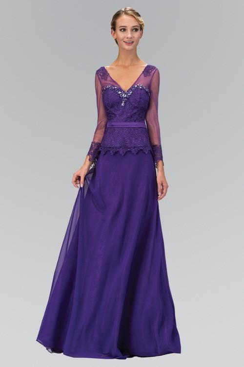 V-Neck Long Sheer Sleeve Chiffon Evening Dress GSGL1097