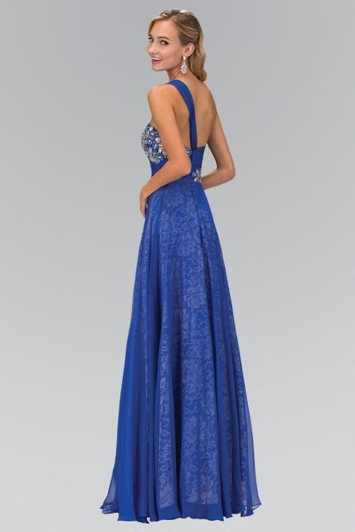 One Shoulder Lace Long Bridesmaid Dress with Chiffon Overlay GSGL1154