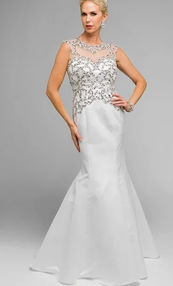 Jeweled Mermaid Shape Wedding Long Dress JT#624W
