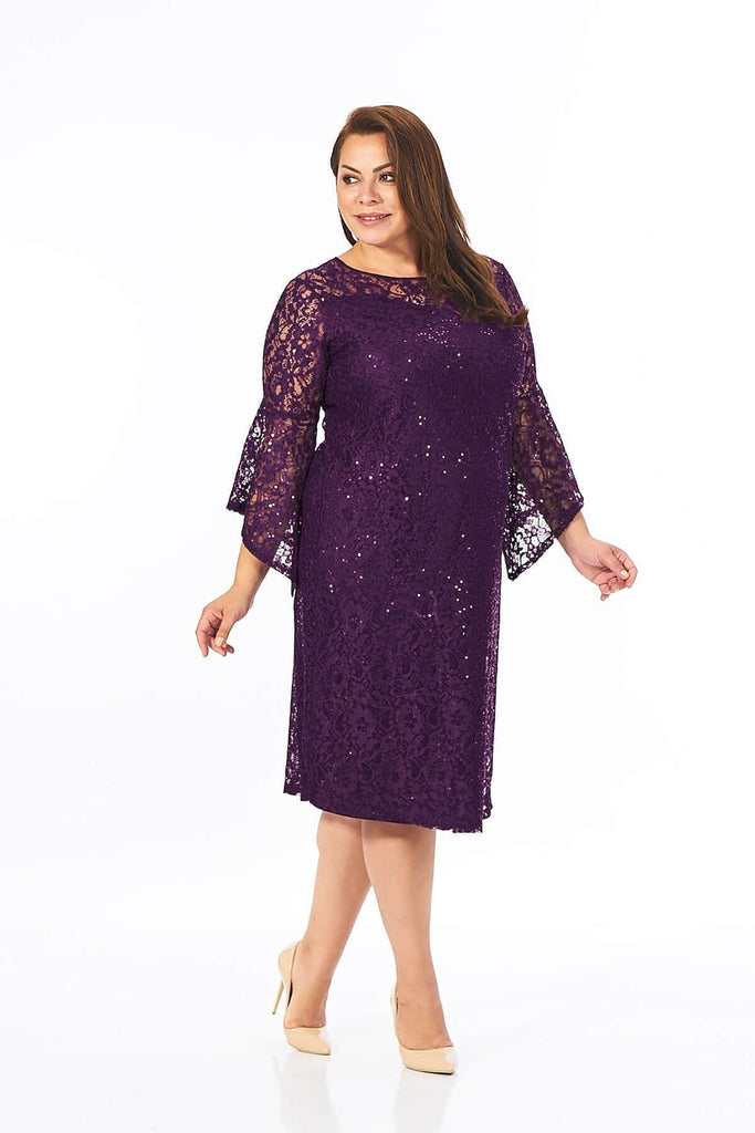 Plus Size Long Illusion Bell Sleeve Dress TK10220018420000