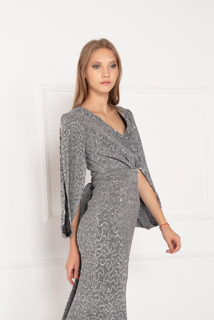 Marmaid Shape Grey Maxi Long Open Long Sleeve Prom Dress TK18Y69102U63