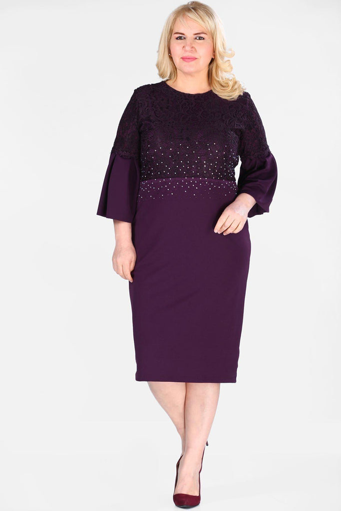 Plus Size Purple Sequinned Long Bell Sleeves Mother Of The Bride Dress TKELB0001D8462