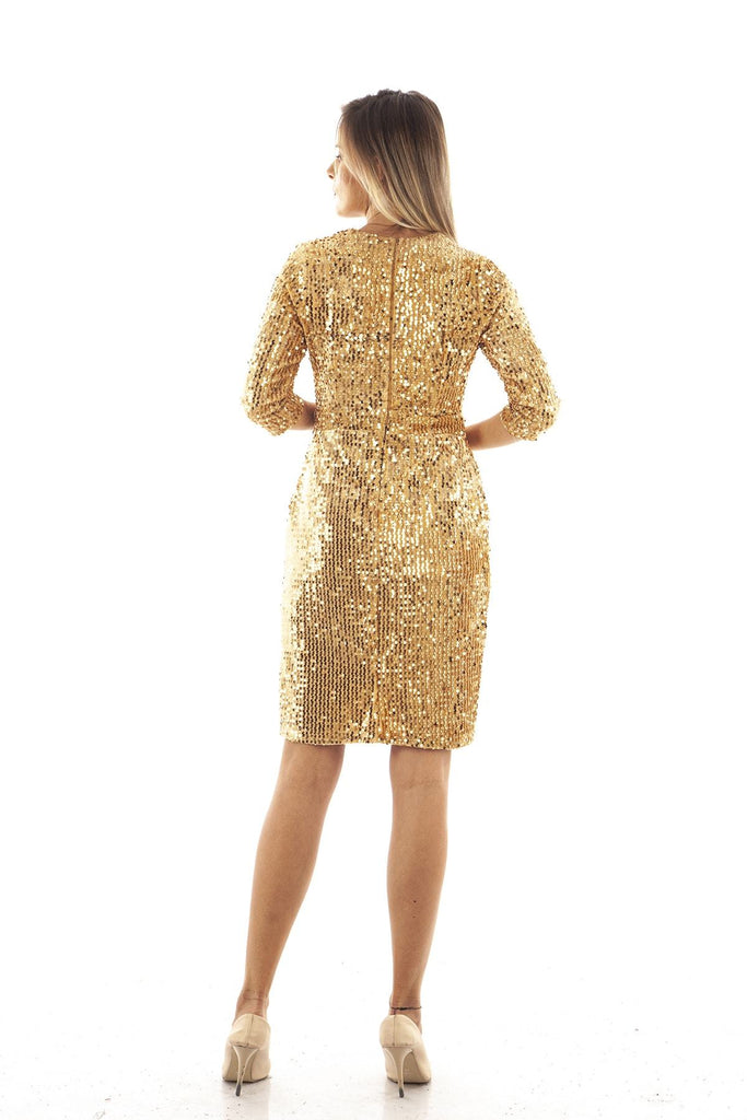 Gold Sequined V-Neck Sheath Shape Prom Dress TK9704422