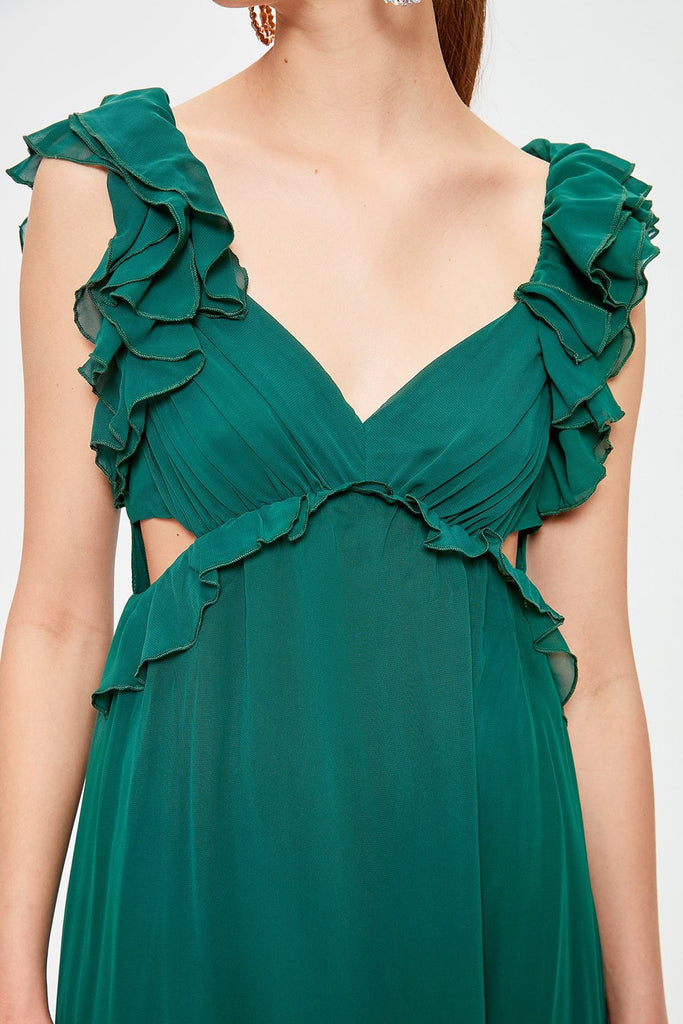 Green Chiffon A-Line Cap Sleeve Long Dress TKTPRSS20AE0003