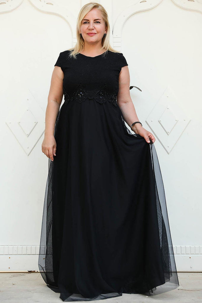 BLACK Cap Sleeves Long Mother of the Brides Dress TKELB0001D8505