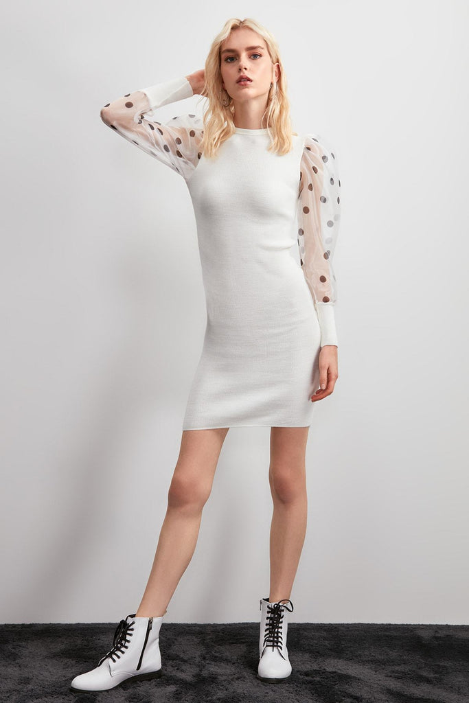White Long Sleeve Short Sheath Dress TKTWOAW20EL2239