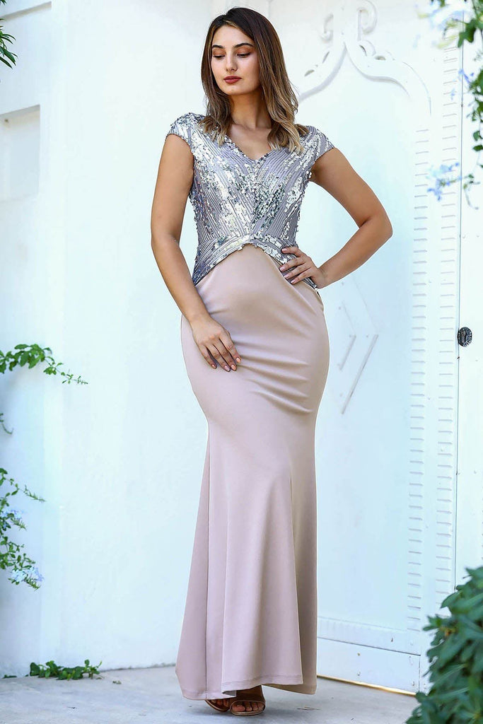 CHAMPAGNE Sequined Cap Sleeves Mermaid Long Evening Dress TKELB0001D9325