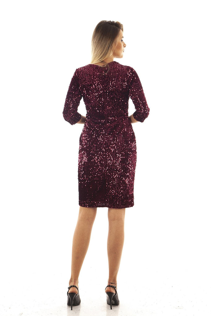 Burgundy Sequined V-Neck Sheath Shape Prom Dress TK9704422