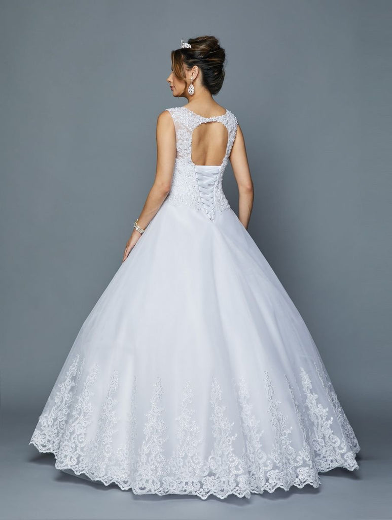 Illusion Neckline Ballgown Long Wedding Dress JT400