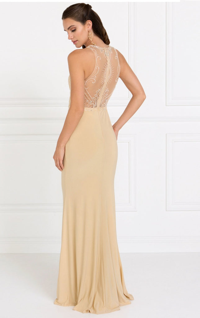 Illusion Long Gown Dresses With Jewels GSGL1507-Prom Dresses-alwaysprom.com