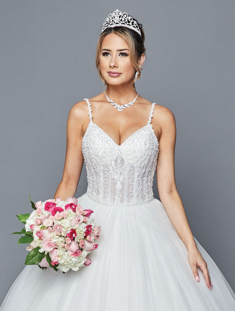 V-Neckline Wedding Long Gown Dress JT404