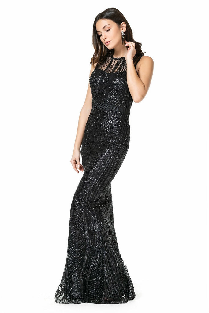 Sequined Bodice Black Mermaid Long Evening Dress TK9YEL522K102