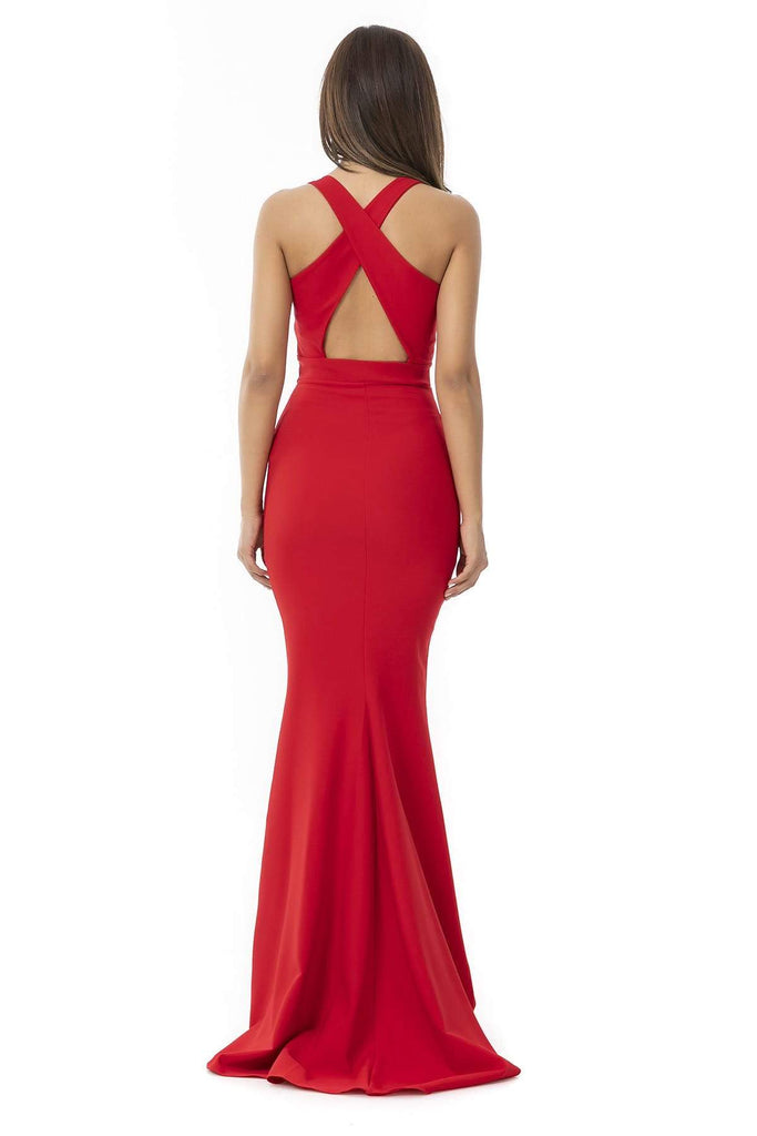 RED Scoop Neckline Sleeveless Mermaid Long Prom Dress TK9YEL522K163