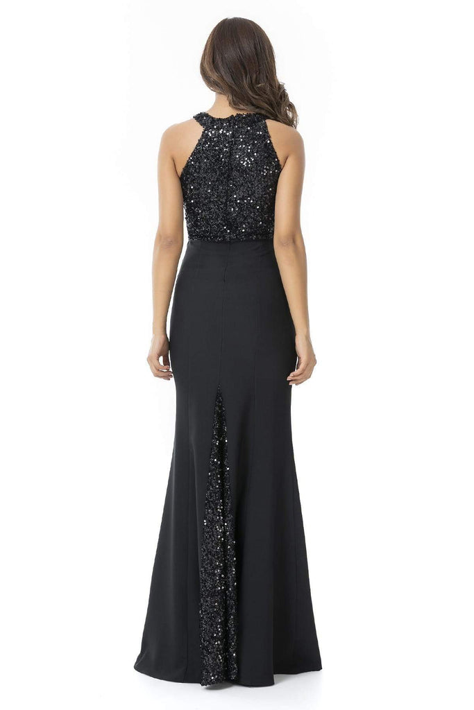 DARK Jeweled Waist High Neckline Long EVENING Dress TK9YEL107K102