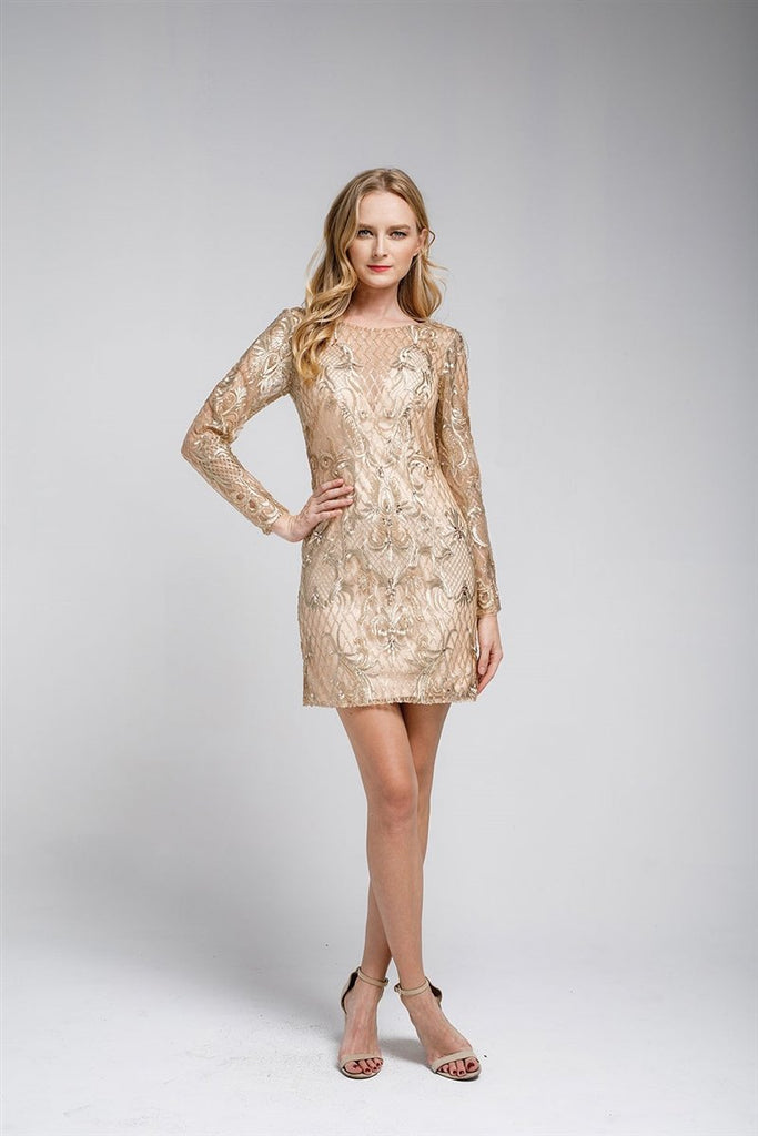 cheap Cocktail Evening Formal Long Sleeves Beaded Short Mini Dress AC465S-Cocktail Dresses | Plus size Cocktail Dresses-alwaysprom.com