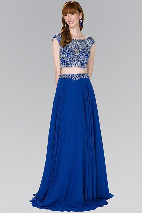 Two-Piece A-Line Cute Long Dresses with Jewels GSGL2422-Long Dresses-alwaysprom.com