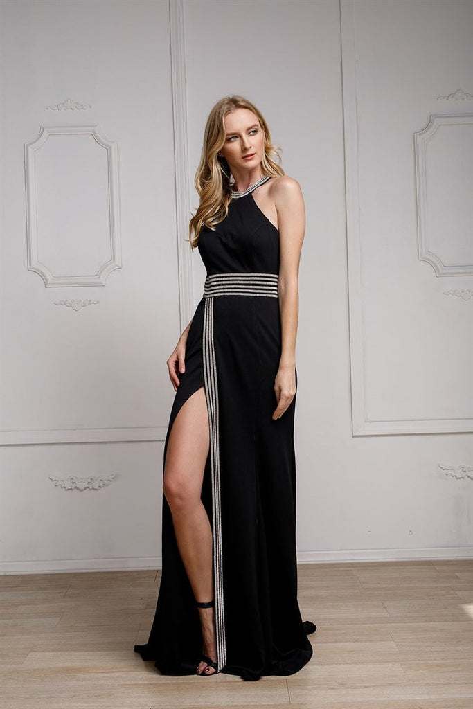New Halter Neckline Sleeveless Leg Cut Cute Long Evening Dress AC470