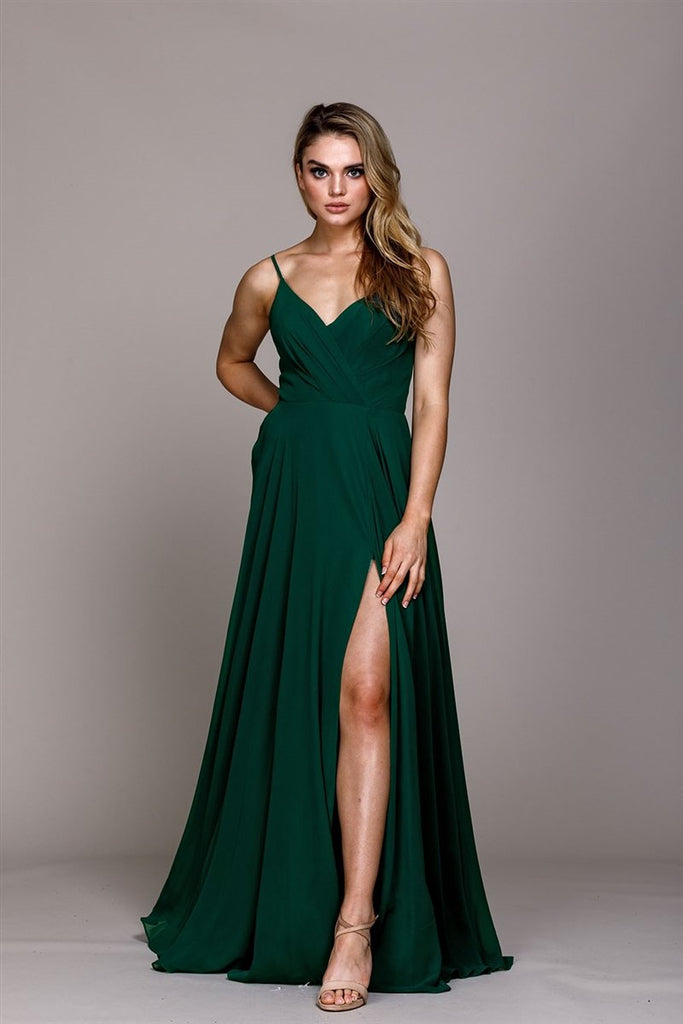 V-Neckline Sleeveless Leg Slit Long Evening Dress AC477