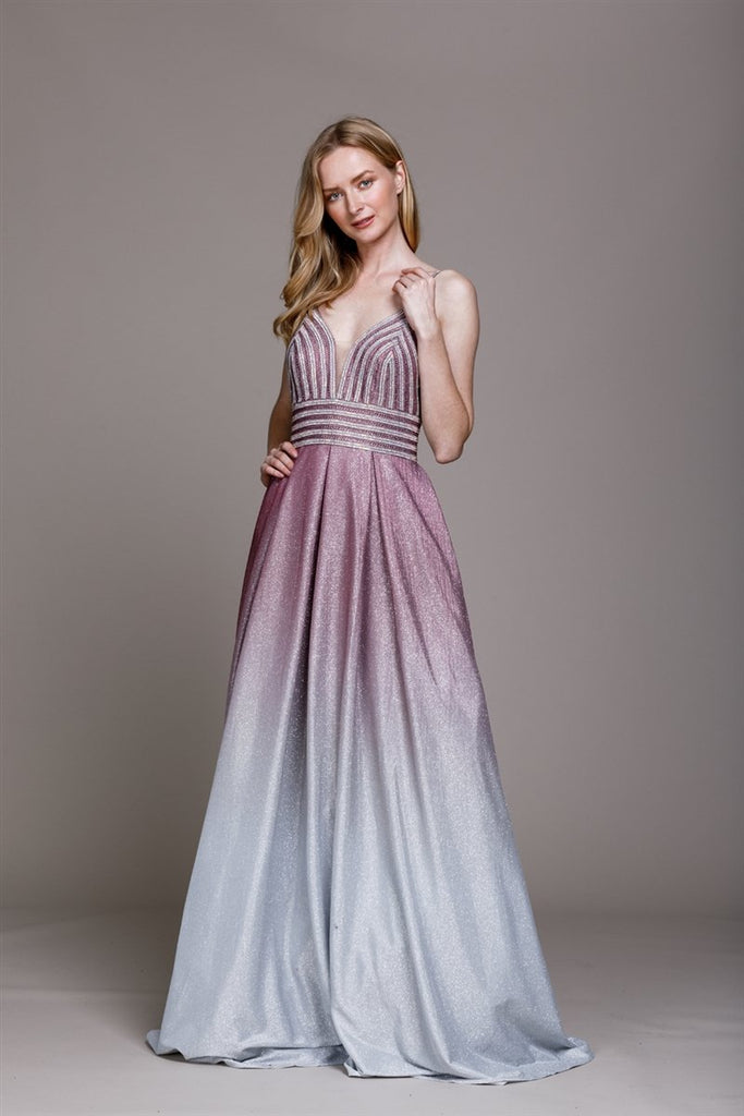 Jeweled V-Neckline Long Prom Dress AC487