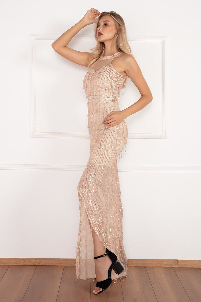 GOLD Beautiful High Neckline Long Sequined Evening Dress TK19Y69105U06