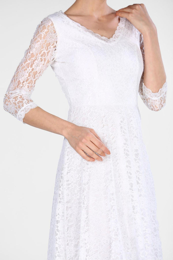 WHITE V-Neckline Long Sleeves Long Evening Dress TKELB0048D3810