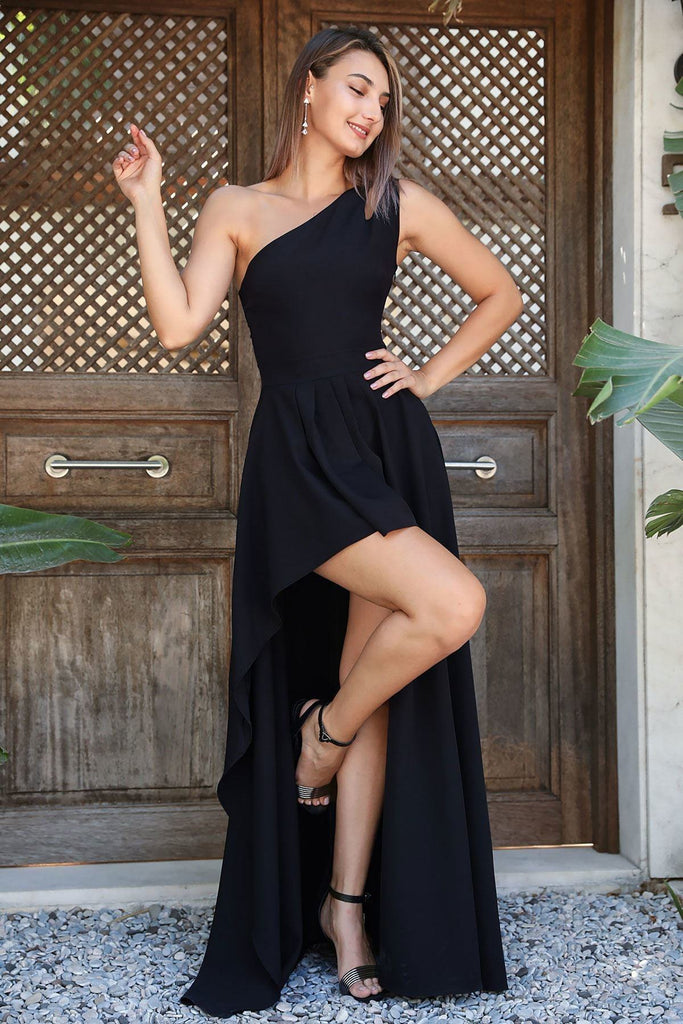 Black One Shoulder High-Low Length Bridesmaid Dress TKELB0307D0797