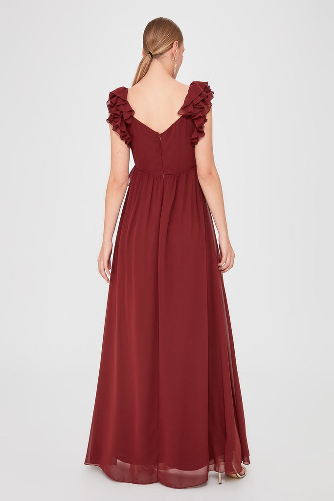 Burgundy Chiffon A-Line Cap Sleeve Long Dress TKTPRSS20AE0003