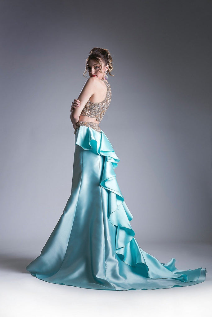 Beaded Satin 2 Piece Mermaid Long Prom Gown CD5045