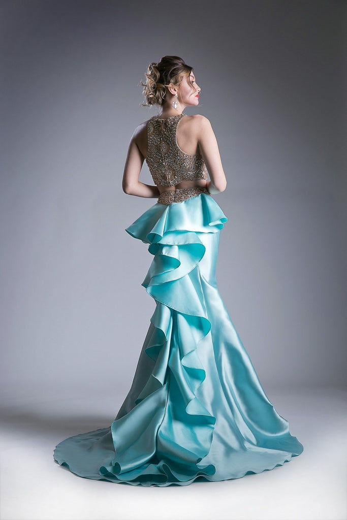 NEW Beaded Satin 2 Piece Mermaid Long Prom Gown CD5045