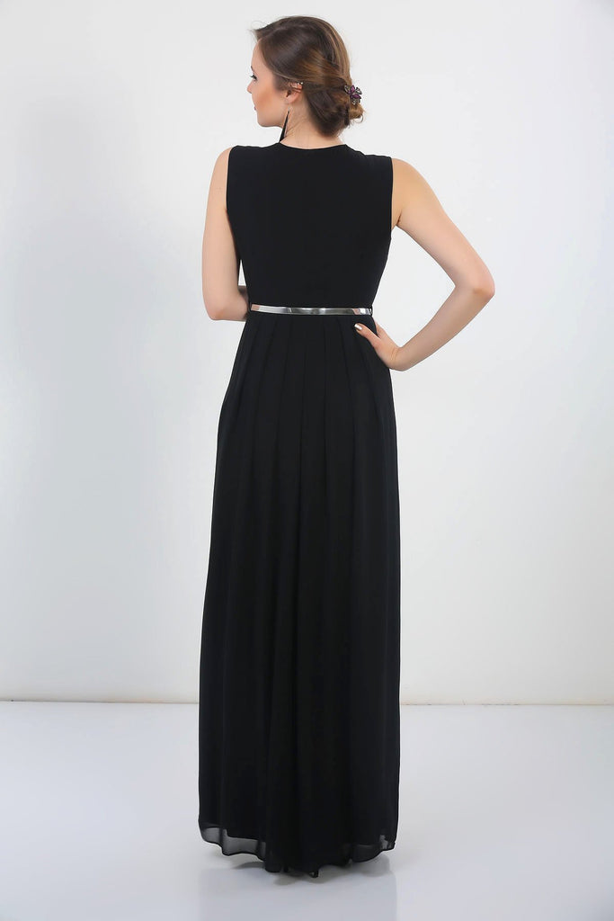 BLACK Sleeveless V-Neckline Long Bridesmaid Dress TKS-18Y2580002