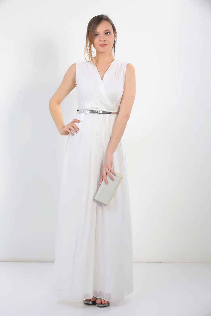 White Sleeveless V-Neckline Long Prom Dress TKS-18Y2580002