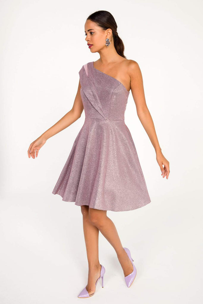 PURPLE One Shoulder A-Line Short Cocktail Dress TKS-19Y3050019