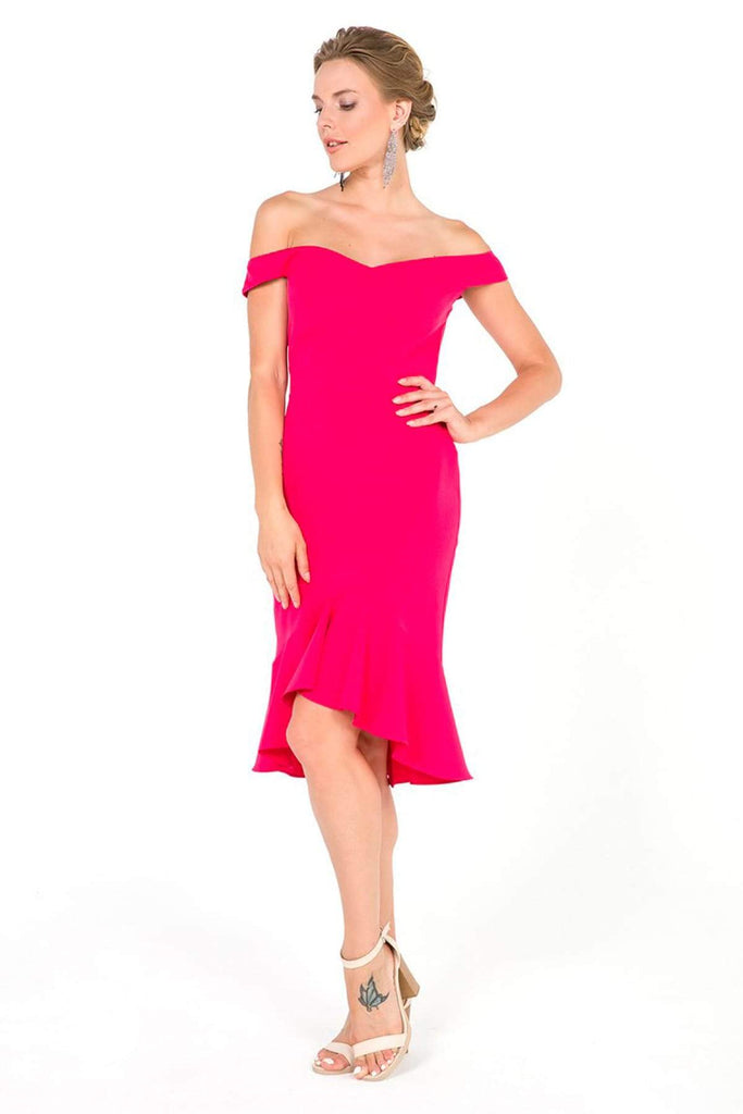 PINK Off-Shoulder Short Cocktail Dress TKS-19Y3050027