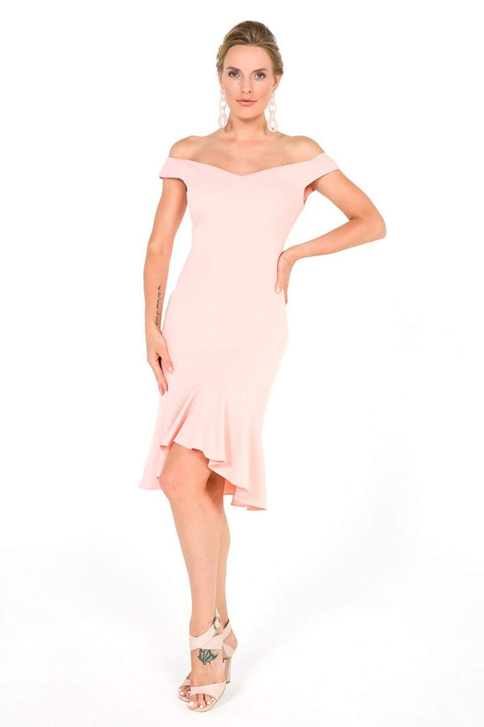 BLUSH Off-Shoulder Short Cocktail Dress TKS-19Y3050027