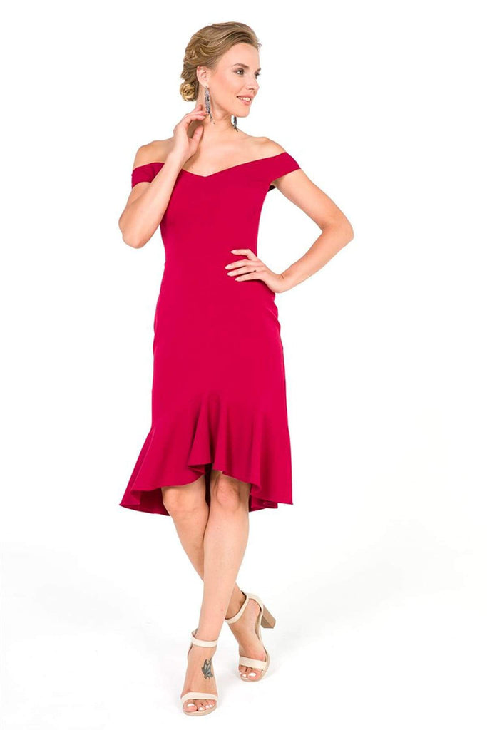 BURGUNDY Off-Shoulder Sheath Short Cocktail Dress TKS-19Y3050027