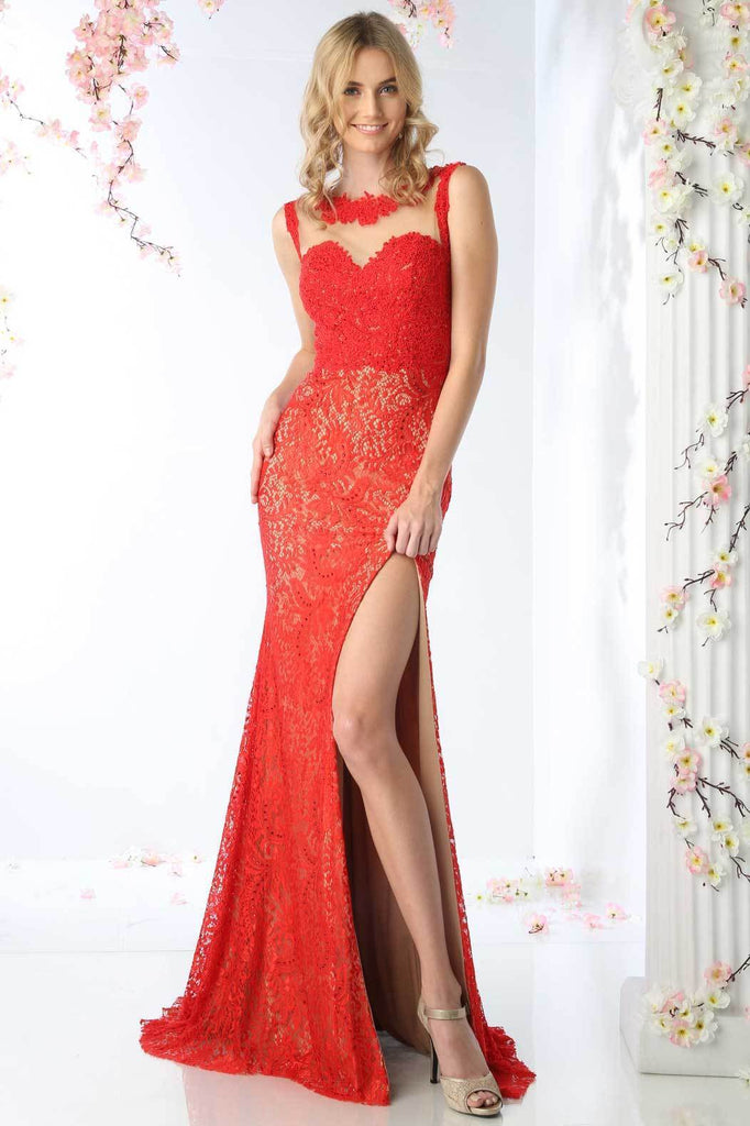 Lace Unique Prom Dresses with Sheer Back CDKD016-Prom Dresses-alwaysprom.com